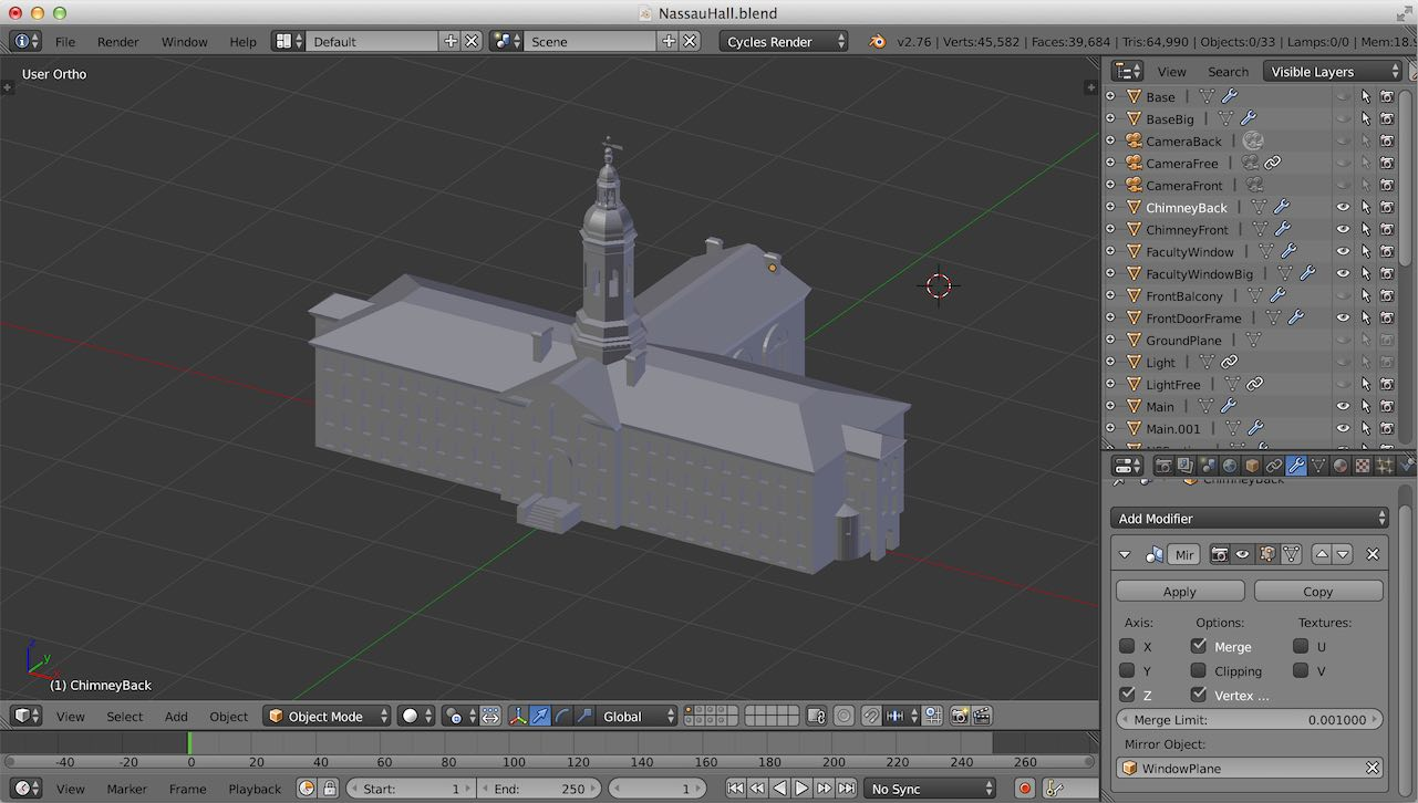 Nassau Hall Blender Modeling
